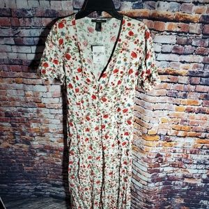 Forever 21 Floral Dress Red Cream
